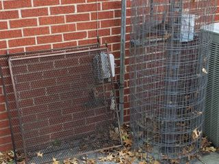 2 Aluminum Screen Door Guards  36 x 30 in  and Roll of Welded Fencing  48 in  tall