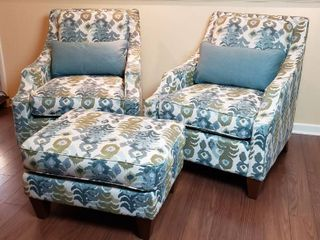 Pair of lazBoy Upholstered Occasional Chairs w matching Ottoman and Coordinating Pillows  Chair  29 x 36 x 36 in  Ottoman  29 x 22 x 17 in