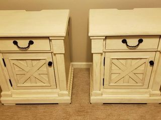 Pair of Off white Millennium by Ashley Cabinet Nightstands   25 x 18 x 29 5 in