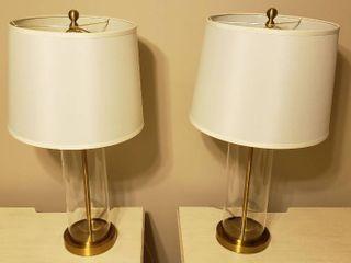 Pair of lauren 3 way Glass   Brass lamps   28 in  tall