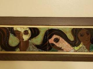 ladies on Tile Artwork   40 x 10 5 in