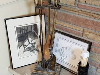 Fireplace Tools and 2 Framed Dog Prints