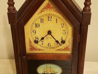 Antique Ship Decor Mantle by Sessions   Made in USA   Key Included   9 5 x 4 5 x 16 in  tall