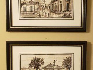 Pair of Framed Pen   Ink Artworks of Trinidad by Herr   17 x 13 in