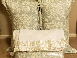 King Size Quilted Aqua White Bedspread  Shams  Pillows  and White Cotton Blanket