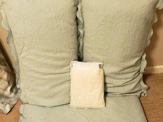 King Size Aqua Bedspread  Shams  Pillows  and Scala Egyptian Cotton Off White Bedskirt  NIP