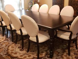 Espresso Dining Room Table   Ciguere   Morin Inc    111 x 48 x 30 in  w 2  20 in  table leaves and 10 White Upholstered Oval Back Espresso Wood Chairs   Made by Stanley Furniture Co