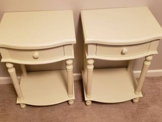 Pair of Off White One Drawer Nightstands   17 x 13 5 x 26 in