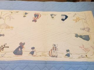 Dutch Mill Embroidered Quilt   52 x 74 in