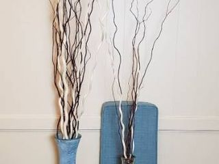 2 large Glass Vases w Twig Decor  Silver  36 in  tall and Aqua  40 in  tall  and Aqua Tweed Cushion   45 x 13 x 2 5 in
