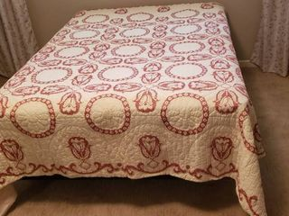 Tulips   Pansy Ring Embroidered Quilt   92 x 92 in    some stains