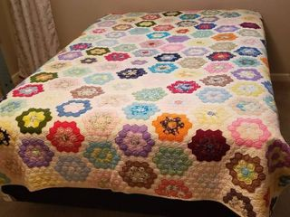 Patchwork Floral Quilt   70 x 90 in    stain