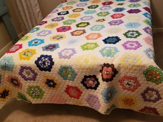 Patchwork Floral Quilt   72 x 95 in    stain