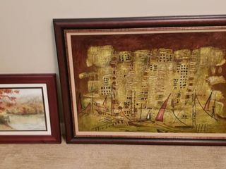 Framed Artwork   Oil on Canvas  Sailboats  and Watercolor  Dock on Pond
