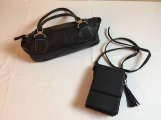 Worthington Black leather Small Duffle Purse   a Just Must Black Cross Body Purse