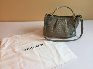 Brahmin Crocodile Embossed Sea Foam leather Purse W Dust Cover Bag