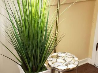 Brass lamp  57 in  tall  Faux Potted Grass  59 in  tall  and Round Table  metal Stone   12 in  diameter x 22 in  tall
