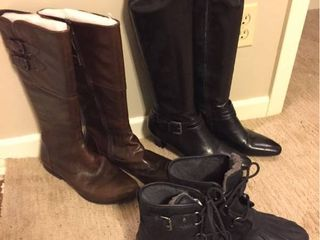 Womens Boots   Born Brown leather sz 11  Franco Sarto Black leather Healed sz 11  Ugg Black leather sz 11