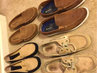 Womens leather Moccasin Slippers  Sperry Top Siders  Sebago leather Deck shoes   All size 11