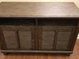 Dark Wood Media Stand Cabinet w Electrical Plug System   48 x 20 x 32 in