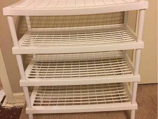 4 Stackable White Plastic Shoe Organizer Shelves