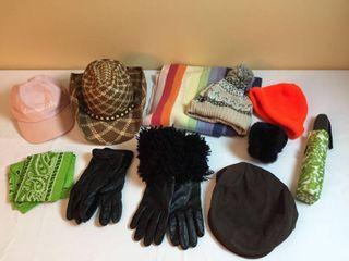 Caps  ladies Hat  Scarves  Women s leather gloves  Umbrella