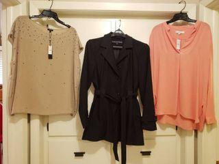 2  NWT Talbots  Xl  and loft Blouses  l and Fleet Street Black Jacket Size l