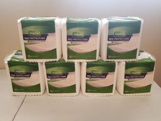 7  New Packages of Depend Incontinence Bed Protectors  Disposable Underpad  Overnight Absorbency  12 Ct