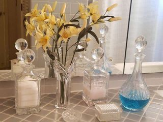 Glass Decanters used for Bath Salts  Oil and Mouthwash  Vase  Ring Holder and Trinket Box