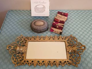 Sterling Plated Decorative Box   7  New lipstick Holders and Ornate Mirrored Tray