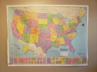 Hammond World Map and United States Map   both maps are 50 in  x 38 in