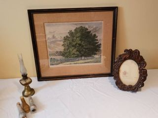 J  G  Strutt fect 1825 Sycamore at Bishopton  Renfrewshire Framed Print 21 3 4 in  x 19 in  Oil lamp and Wood Carved Frame