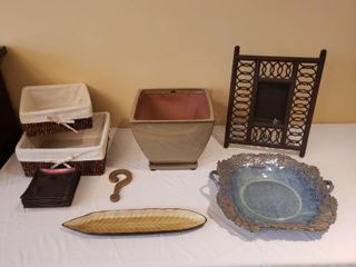 Pottery Decor  Baskets  Brass IJ and Metal Picture Frame
