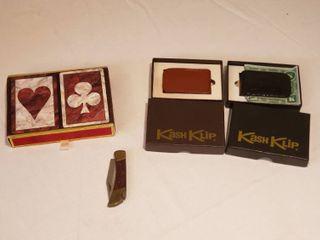 2  Kash Klip Money Clips  Playing Cards and Pocket Knife