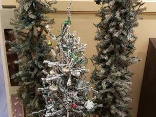 3 lit Alpine Christmas Trees  2 Four Ft  and 1 Five Ft  Ornaments  and lED lighted Branches in Box