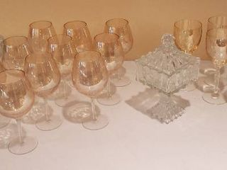 Wine Glasses  2 Sets  2 Pressed Glass Compotes  and Pressed Glass Candy Dish   Bring Boxes to Pack