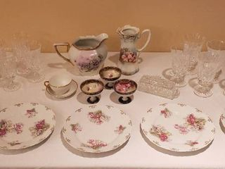 10 Waterford Crystal Goblets and Butter Dish  5 M  Z  Austria China Plates 3 Hand Painted Sorbet Dishes and 2 China Pitchers   Cup Saucer  chipped   see pix    Bring Boxes to Pack