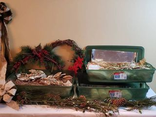 Christmas Greens  Bows  Garland  Battery Operated Candles    holiday florals   includes 3 Green Totes