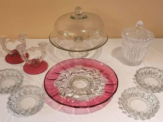 Clear Glass Dome Cake Plate  Pair of Double Candleholders  Crystal Candy Dish  Cranberry   Clear Platter  and 4 Ashtrays
