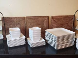 World Market White China Dishes   14 Dinner Plates  10 Bread Plates  12 Saucers  12 Bowls  and 2 Black Metal Plate Holders   10 Square Wood Placemats   bring boxes to load out