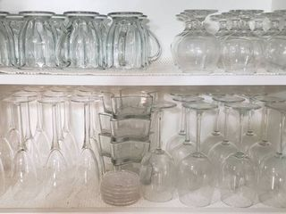 9 Clear Glass Brandy Snifters  8 Glass Mugs  4 Star Dishes  10 Wines Glasses  Set Of Coasters and 12 Champagne Glasses   Bring Boxes to load out
