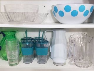 Plastic Serving Dishes  Pitchers Hot Pot and Drinking Glasses