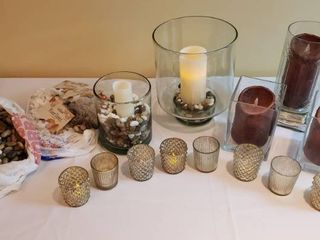 Glass Hurricanes and Votives  Battery Operated Candles  some need batteries  River stones and Gold Tote