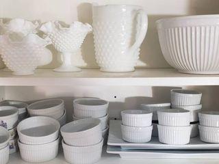 Milk Glass Fluted Dishes   Pitcher  3 William  Sonoma Ceramic Mixing Bowls  Ceramic Ramekins and 2 Ceramic Platters