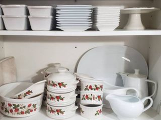 Set Of Sheffield Strawberries n Cream Stoneware  White Gravy Boats  White Coffee Pot w Tray  Mini loaf Pans and Plates  and Small Pedestal Treat Dish