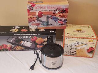 Pasta Mill  Apple Master Corer Peeler  Oneida SS Mandolin Slicing Set and Crock Pot little Dipper