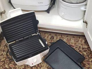 West Bend Electric Skillet  Hamilton Beach Oval Crock Pot  and Hamilton Beach Press Grill Cooker