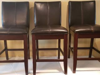 3 Ashley Furniture Dark Brown leather Bar Stools   18 5 x 19 x 39 5 in  tall   Seat  19 in  wide