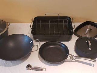 11 pcs  of Calphalon Pots  Pans and Measuring Spoons