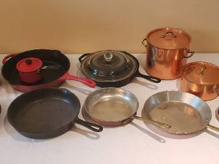 Cast Iron Skillets  Copper Cookware  Mirro Pressure Cooker  and other Sskillet  Pans